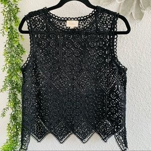 Anthropologie Deletta black sleeveless lace top